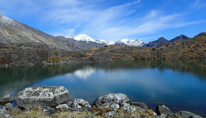 LAGUNA JANQ'U QUTA (4715 M ALT.)– CAMP DE BASE JANQU LAYA (4.560 m alt.) - RANDONNÉE AUX LAGUNES (5.545 m alt. ) OU REPOS
